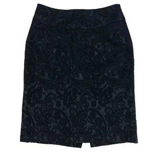 Ann Taylor Textured Lace Wool Blend Pencil Skirt
